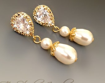 Gold Classic Style Teardrop Pearl Drop CZ Crystal Bridal Earrings - CHARLOTTE