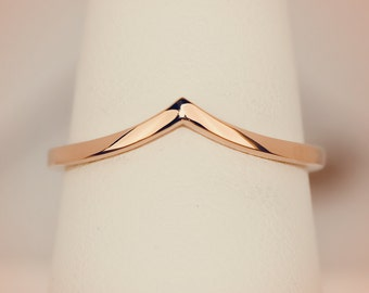 14K Rose Gold Chevron Midi Fashion Ring/ Midi Ring/ Knuckle Ring/ Stacking Ring/ Upper Finger/ Jewelry, Unique/ One of a kind/ Gift for her