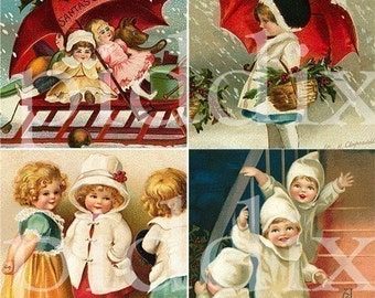 Vintage Christmas Kids and Santas in 2 x 2 inch squares -- piddix digital collage sheet no. 429