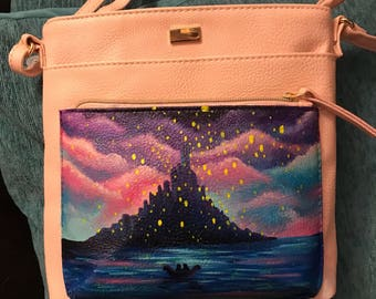 Hand painted Tangled Handbag