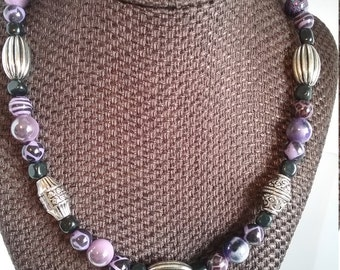 Beaded Purple and Silver Necklace and With Matching Earrings