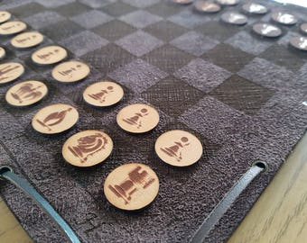 Brown Leather Travel Chess set with Leather Pieces - Customization Available - Free Global Shipping