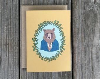 Bear Greeting Card, Bear With Clothes, Forest Animal Card