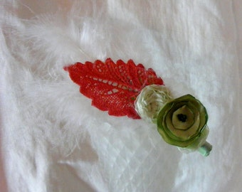 Lime Blossom Flower and Feather Coral and Green Headband