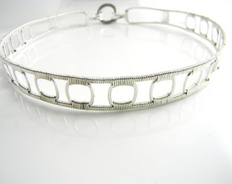 Discreet Slave Collar Open Work Wire Sculpted Sterling Silver Public Day Collar with Snap in Style Captive Bead Ring Clasp