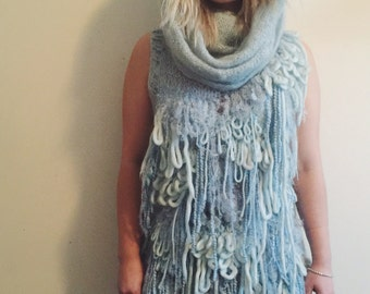 Vintage Ice Blue Shaggy Knit Sweater