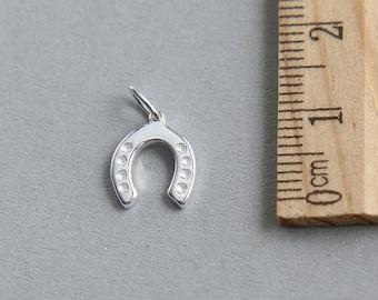 Horseshoe Charm, Tiny Horseshoe, Silver Horseshoe Charm, 925 Sterling Silver Charm, Sterling Silver Lucky Horseshoe Charm, 10mm ( 1 piece )