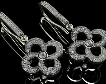 14K White Gold Earring with White Diamonds    M-ER1008