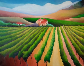 "California Vineyard - Sonoma Napa Valley Original Oil Painting On Canvas 16 "" Height x 20 "" Width x 1 & 1 / 2 "" Gallery Profile"