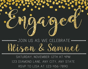 Engagement Invitation, Engagement Party Invitation, Chalkboard Invitation, Black and Gold Engagement Invitation, Printable Invitation