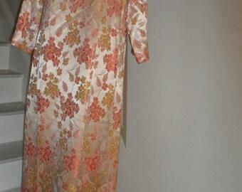BONWITT TELLER amazing peachy color floral 1960s dress asian believe silk