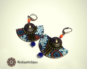 Colorful earrings, inspired African fabric