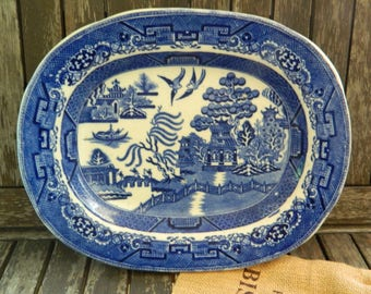 Antique Blue Willow Deep Oval Serving/Vegetable Dish