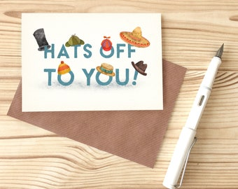 Hat's Off To You Card, Congratulations Typography Greetings Card