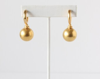 Vintage Minimalist Goldtone Hoop Ball Drop Earrings