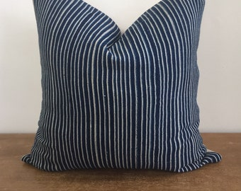 Vintage African Indigo Striped Mudcloth Tribal Pillow Cover // 19 x 19