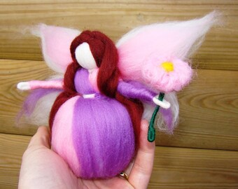 purple flower fairy, Waldorf spring fairy, Waldorf doll, Steiner angel, nature table doll, Steiner doll, Waldorf toys, elf kendal fairies UK