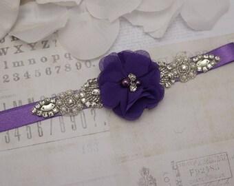 Flower girl belt, purple flower belt, bridesmaid belt, wedding sash, sash belt, custom belt sash, dress belt