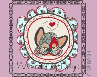 5 Whimsical, cute and versatile Dog designs: 3 ITH coasters and 2 framed doodle motifs. Machine embroidery designs, appliqué