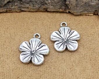 25pcs Antique Silver Flowers Charms Pendant 23x19mm C1994-Y