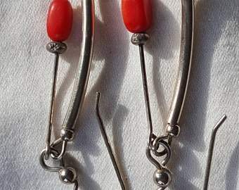 Sterling Silver & Coral Dangle Earrings
