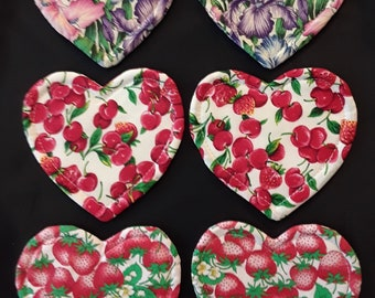 6 Cotton Handmade Heart Shape Coasters