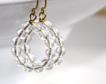 Clear Glass Hoop Earrings - 'Disobedient Parents'