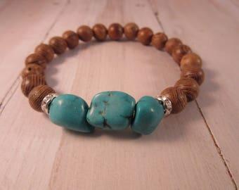 Beaded Stretch Bracelet with Sandlewood, Stack Bracelet, Boho, Gift for Her, Bohemian Bracelet, Boho Chic Jewelry