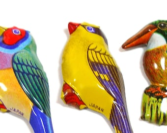 3 Tin Toy BIRD brooches, 60's metal lithograph costume jewelry made in Japan.