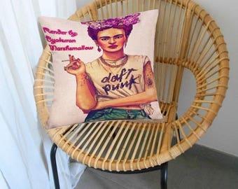 """Housse de coussin motif Portrait """"Frida Kahlo""""  No 15"""