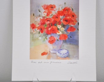 Flower Water Color Print by Haydee / Poppy Art / Unique Wall Hanging / Flower Art Decor / Fun Colorful / Home Decor / Art by Haydee