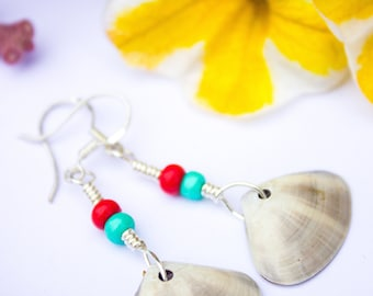 Red Grey and Teal Beautiful Mermaid Shell Earrings