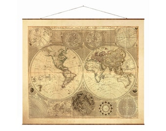 """General Map of the World, 39""""x44"""" Canvas Map, world map, vintage maps, pull down map, large canvas map, world vintage maps"""