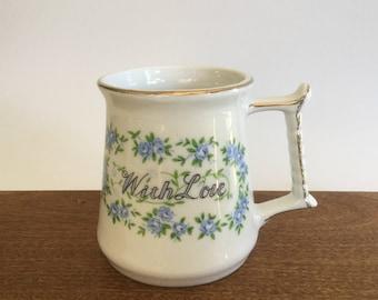 Love Mug, With Love Vintage Enesco Mug, Vintage Love Mug, Enesco Mug, Vintage Coffee Mug, Vintage Tea Mug, Blue Floral Mug, Vintage Gift Mug
