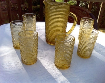 Amber  Pitcher and glasses Set, 1960's, entertaining,