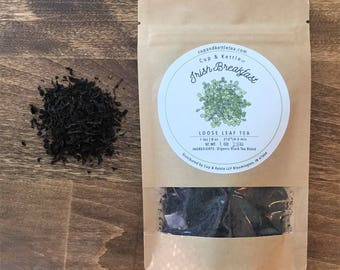 Irish Breakfast Tea/ Black Tea/Organic Tea/Loose Leaf Tea/Tea Bag/Tea/Beverage/Black/Refreshment/Sweet Tea/Caramel/Malty Oats/Cup and Kettle