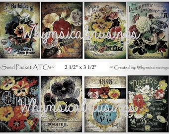Digital Collage Sheet~ Seed Packet ATC's~ ATC~ Seed Packet~ Instant Download