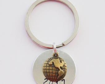 2017 Keychain, Graduate Gifts, Travel Keychain, Wander Jewelry, Globe Keychain, Travel Accessories, Grad Keychains, Hand-stamped Keychain