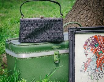 Vintage handbag - 1940's black leather floral handbag