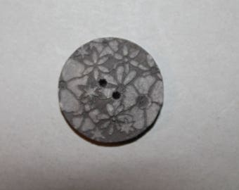 button, round, fancy fabric, reversible, gray, two holes