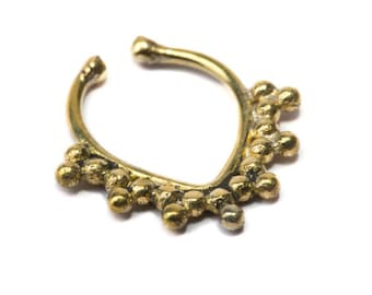 Septum Ring Brass Nickel Free Septum Fake Septum Tribal Jewelery Indian Nose Ring B11 Gift Boxed and Gift Bag Free UK Delivery