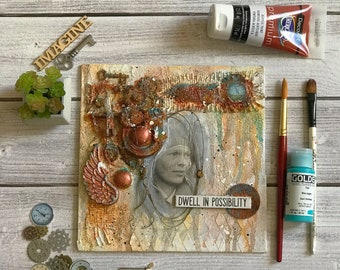 "Mixed Media 3-D Assemblage ""Dwell in Possibility"""