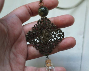 white feather, arabesque filigree and jasper necklace