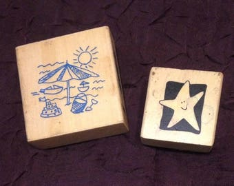Destash rubber stamps, let's go to the beach! Lightly used Beach umbrella and starfish