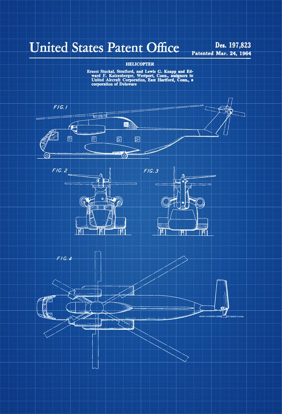 1964 helicopter design patent helicopter blueprint like this item malvernweather Image collections
