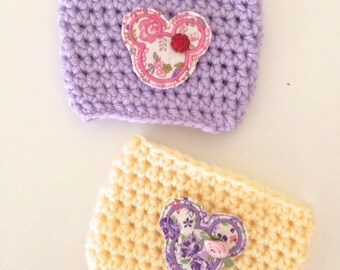Mouse Ears Floral Flower & Garden  Violet Lemonade Epcot Minnie Bow Mouse Head Coffee Sleeve Drink Crochet Cozy Cozies