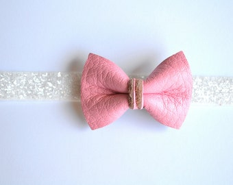 Bubblegum Pink Leather Bow White Headband Glitter Bow Photo Prop Headband for Newborn Baby Little Girl Child Adult Spring Summer Headwrap