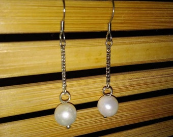 Round Freshwater Pearl Sterling Silver Earrings