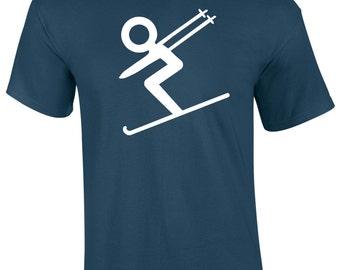 Mens Ski iSKI Skiing T-Shirt S M  L XL XXL