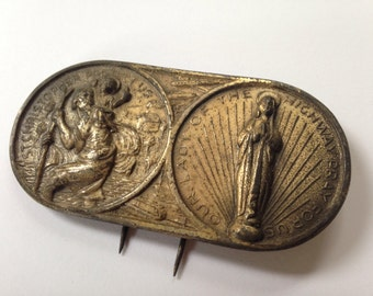 Vintage St. Christopher Medal, Vintage Our Lady of the Highway Medal, Religious Car Medal, Safe Travels Medal, Visor or Dashboard Medal